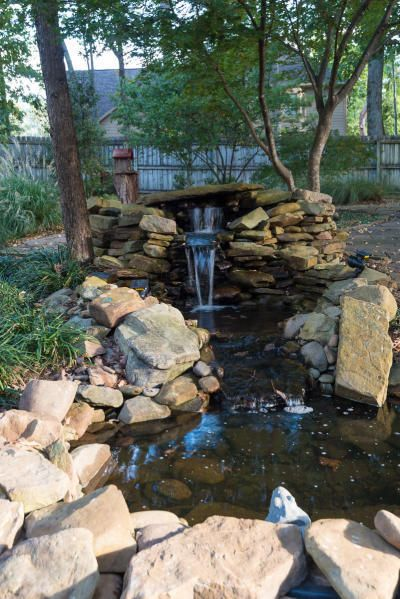 Tiered rock waterfall feature