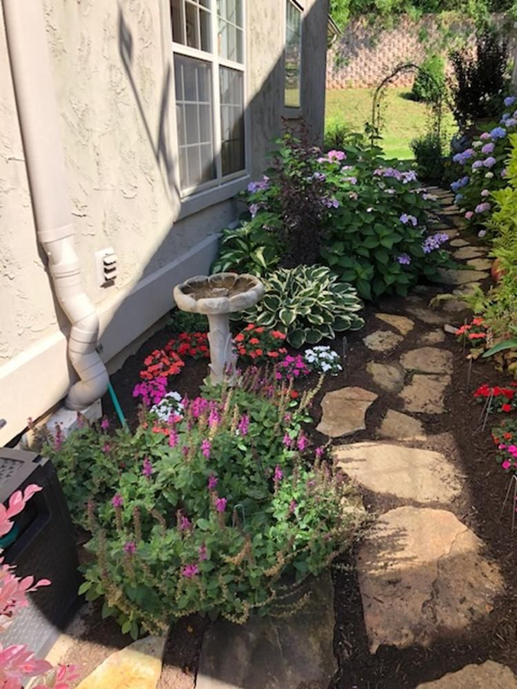 stone walkway in garden area