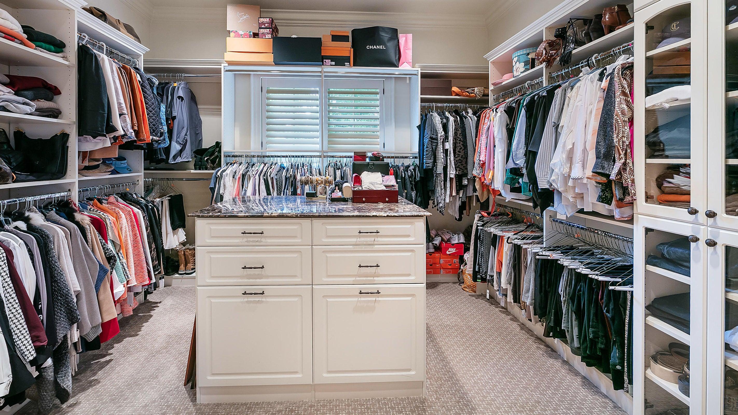 her walk-in closet