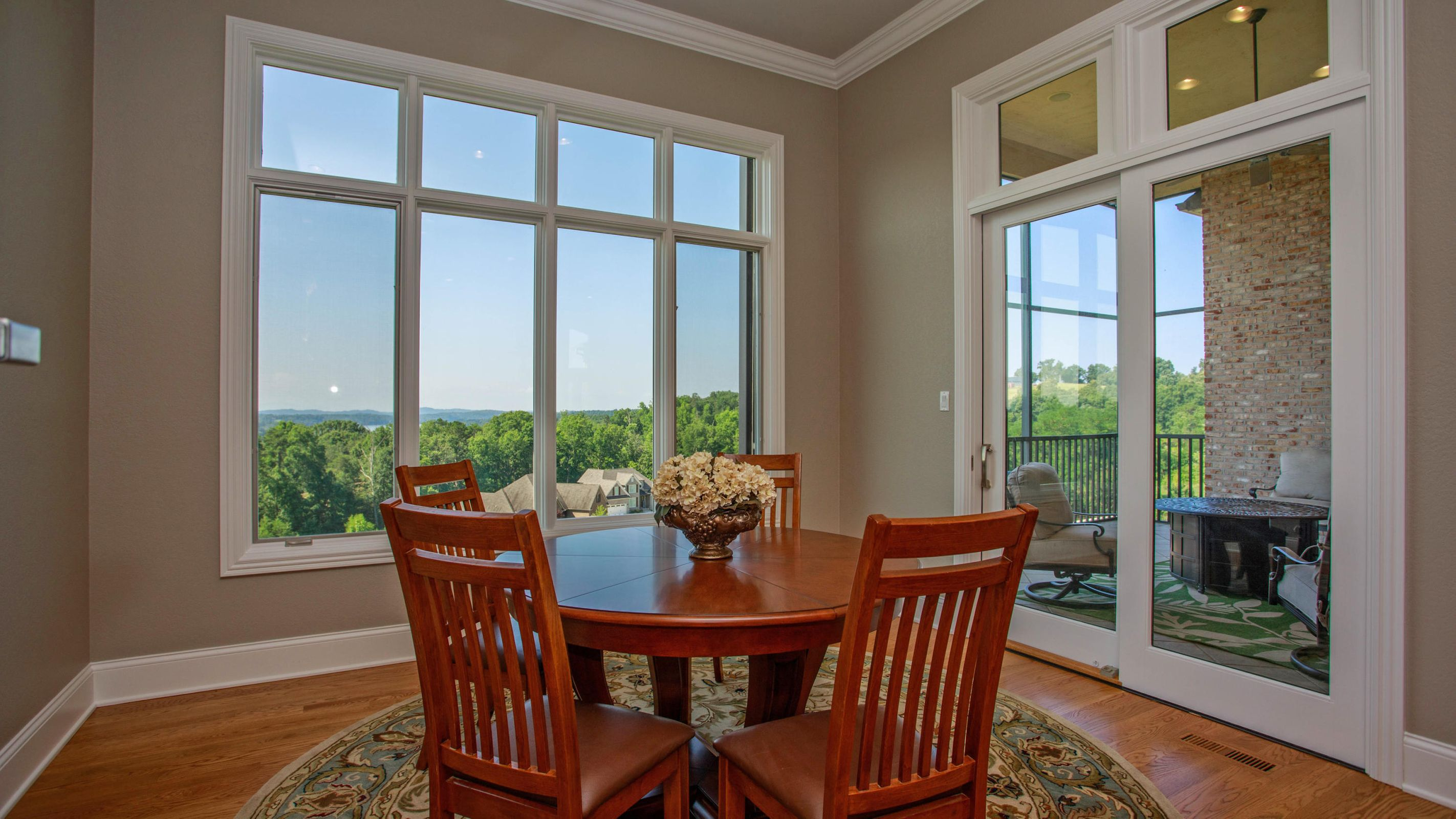 Breakfast room off kitchen with view