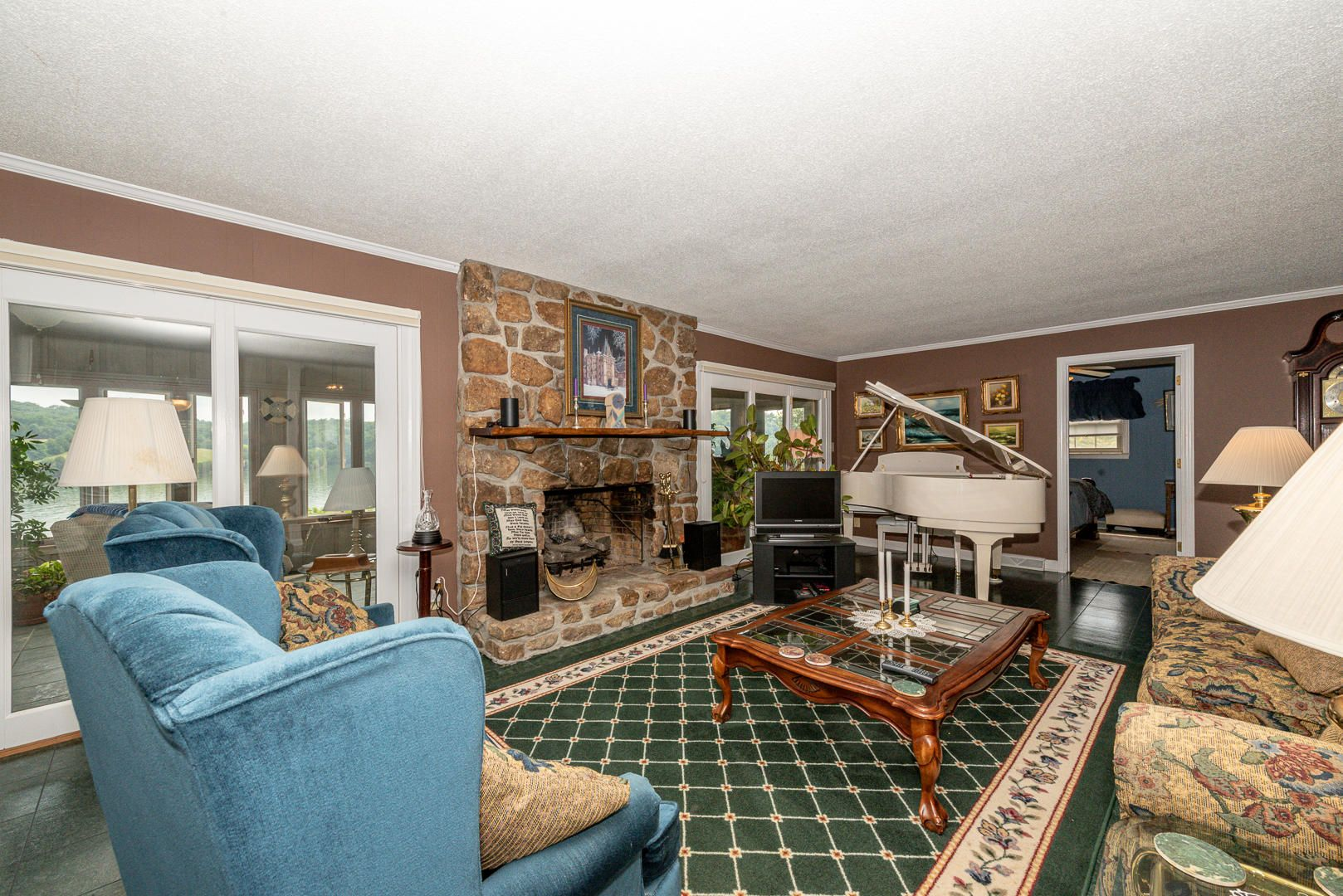 Fireplace in open living area