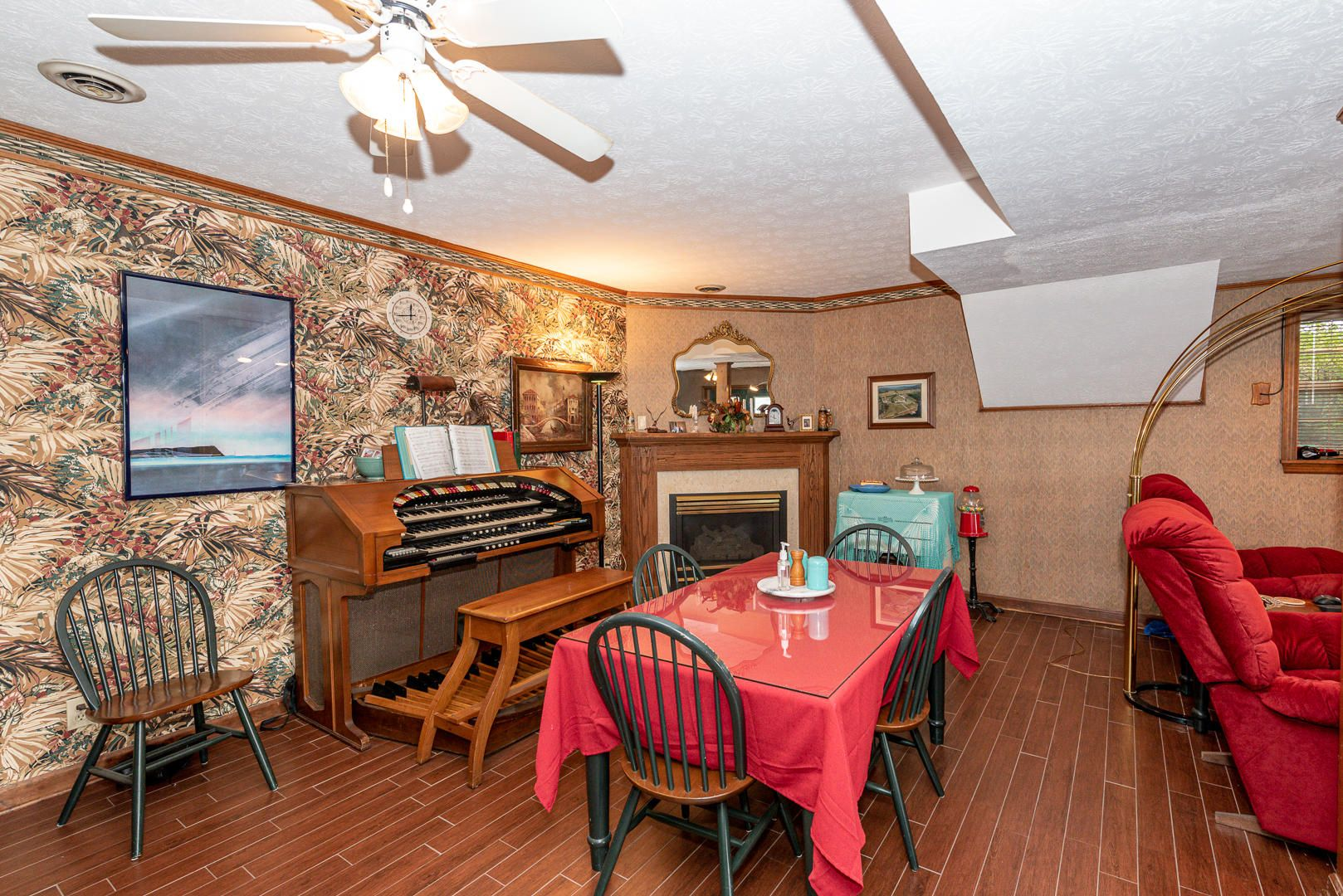 Downstairs dining area with fireplace