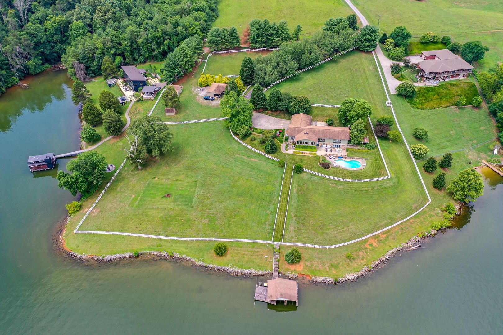 Aerial view of property from the lake