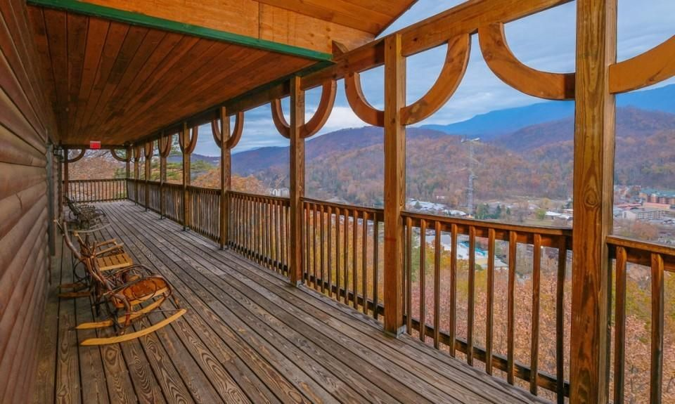 Middle Deck view of Downtown and Smokies