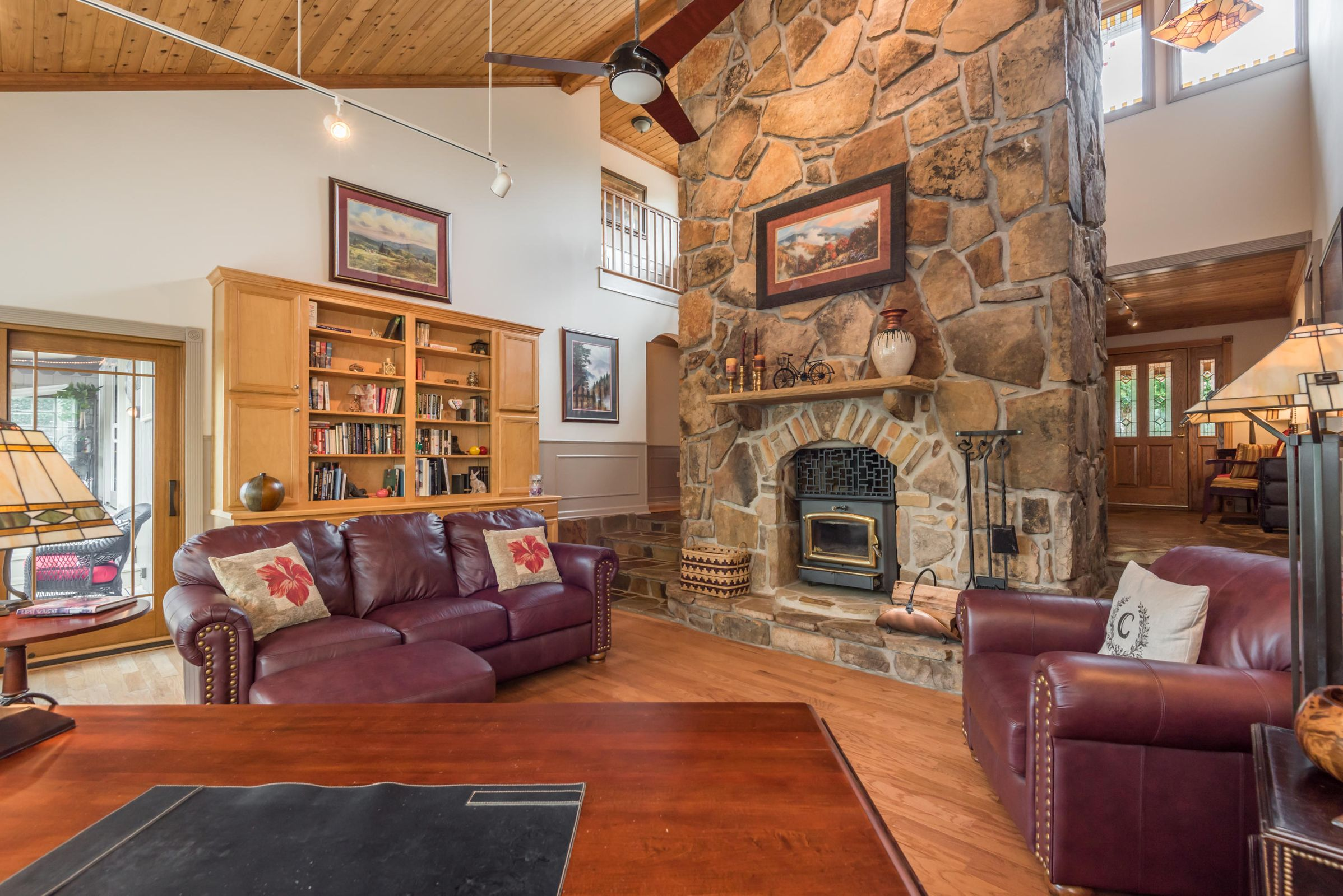 LIVING AREA STONE FIREPLACE