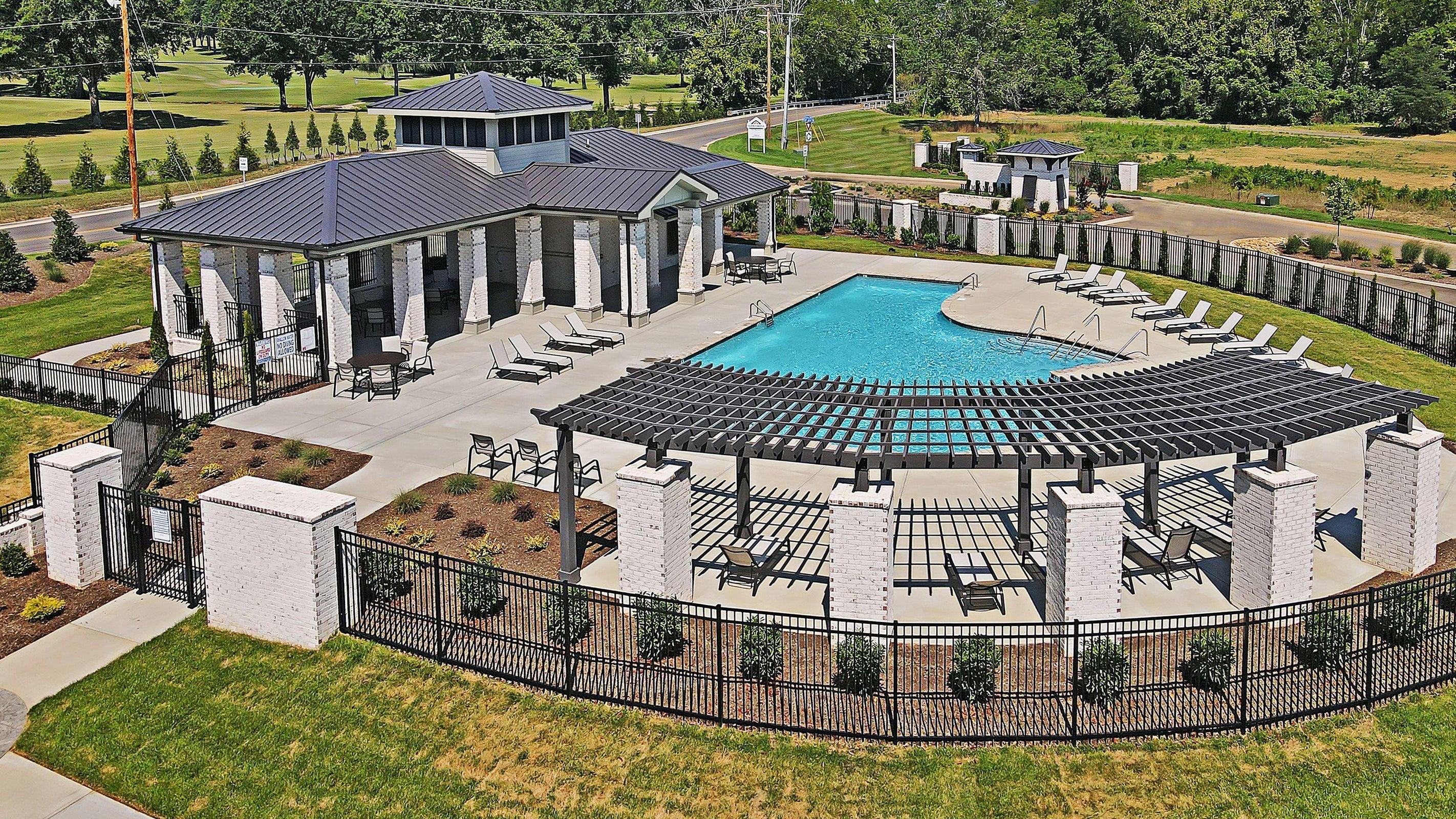 pool area and pergola