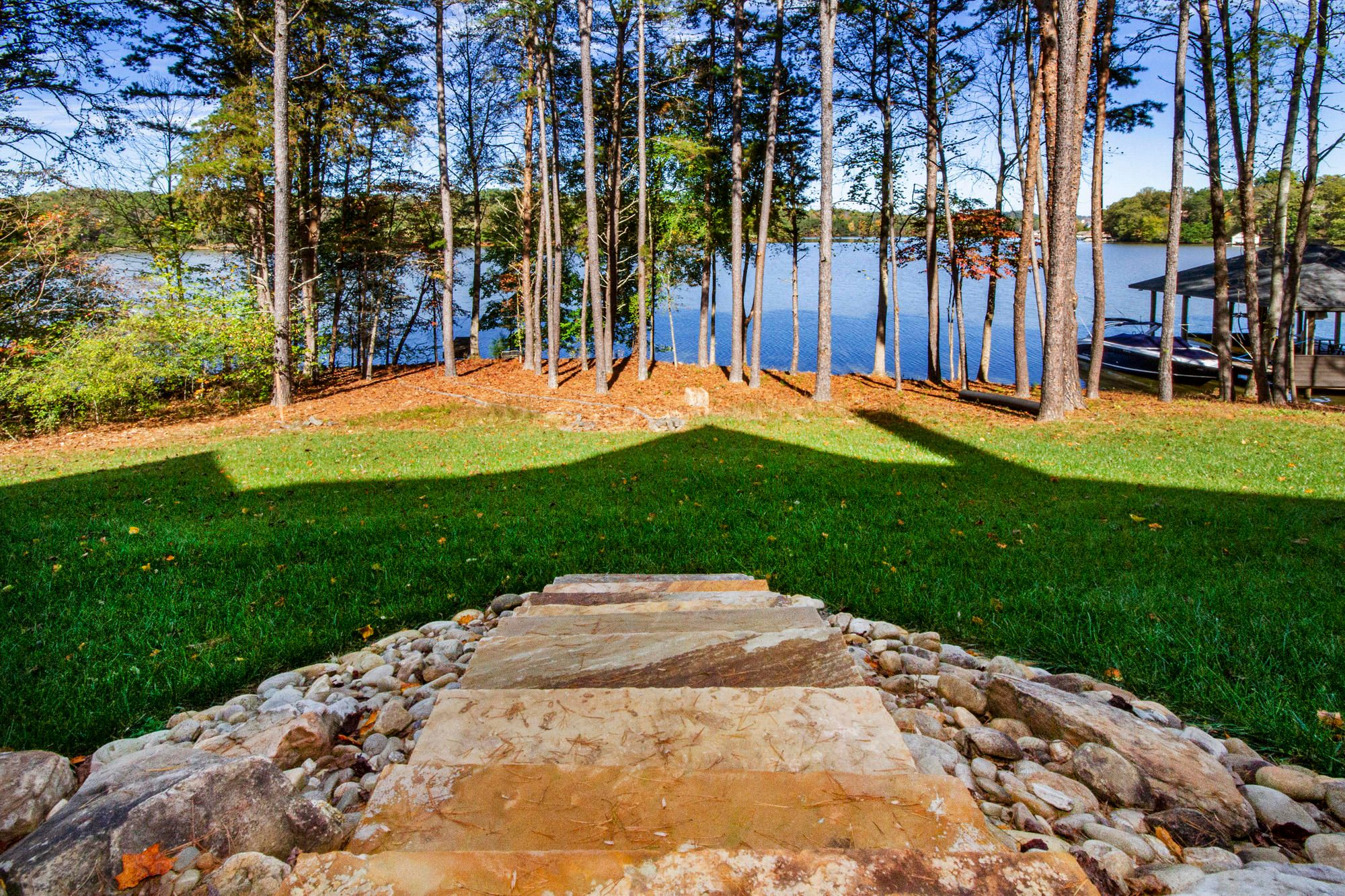 Flagstone Steps to Yard & Lake...
