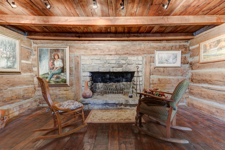Log cabin #1 fireplace