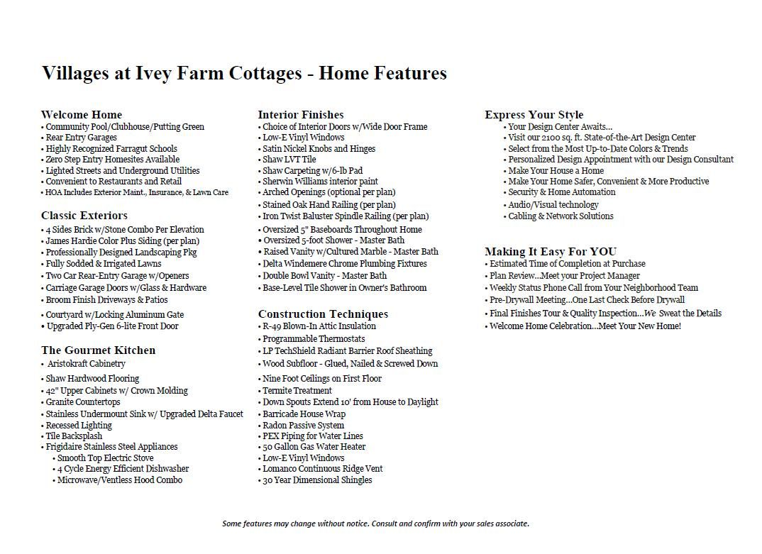 Ivey Villages Incl Features