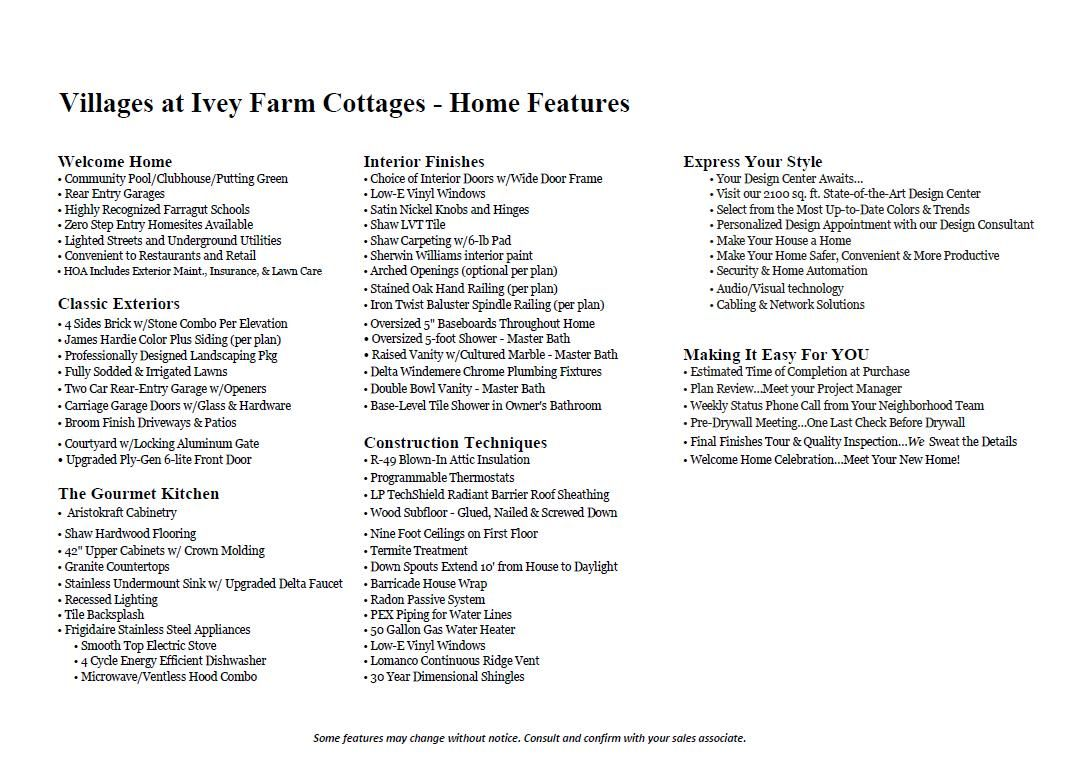 Ivey Villages Incl Features