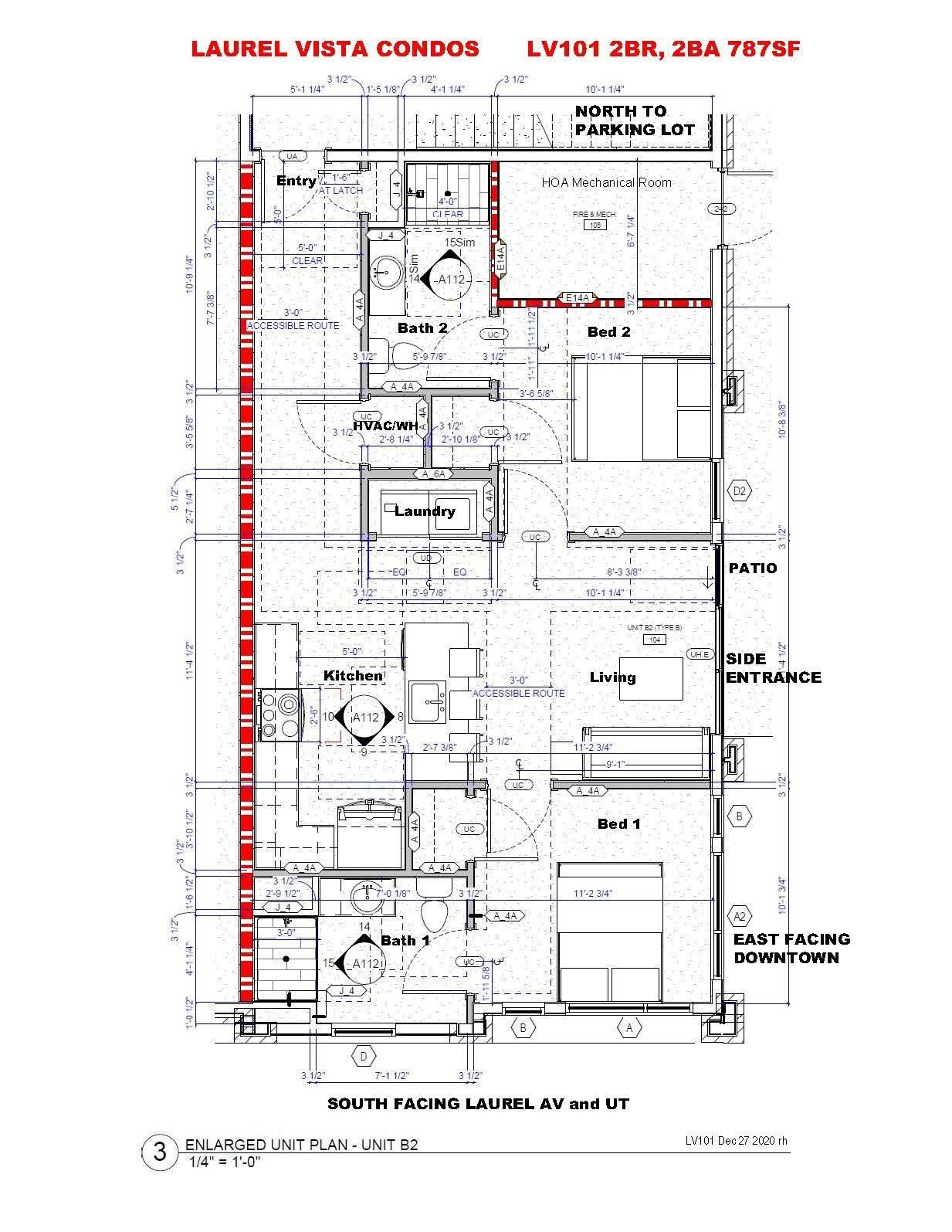LV101 2BR,2BA - Floorplan 787SF