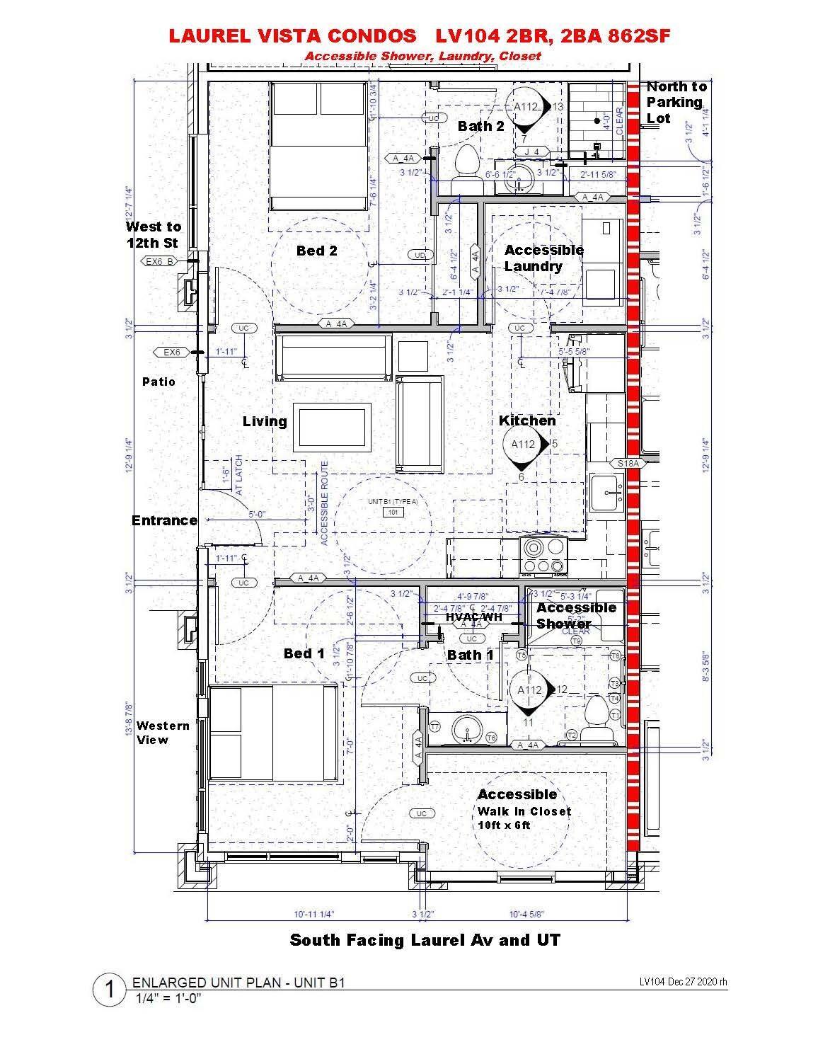 LV104 2BR,2BA - Floorplan 862SF