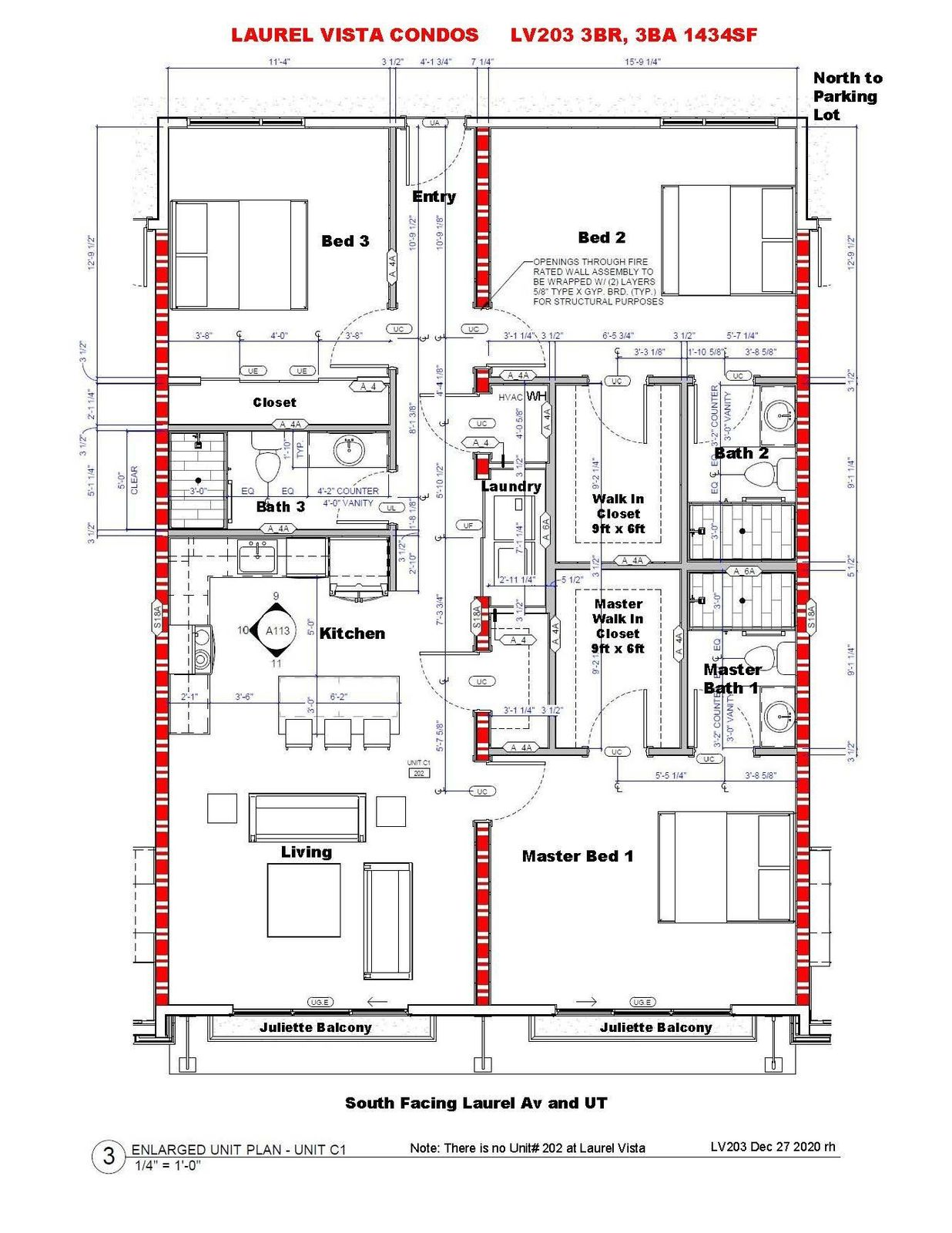 LV203 3BR,3BA - Floorplan 1434SF