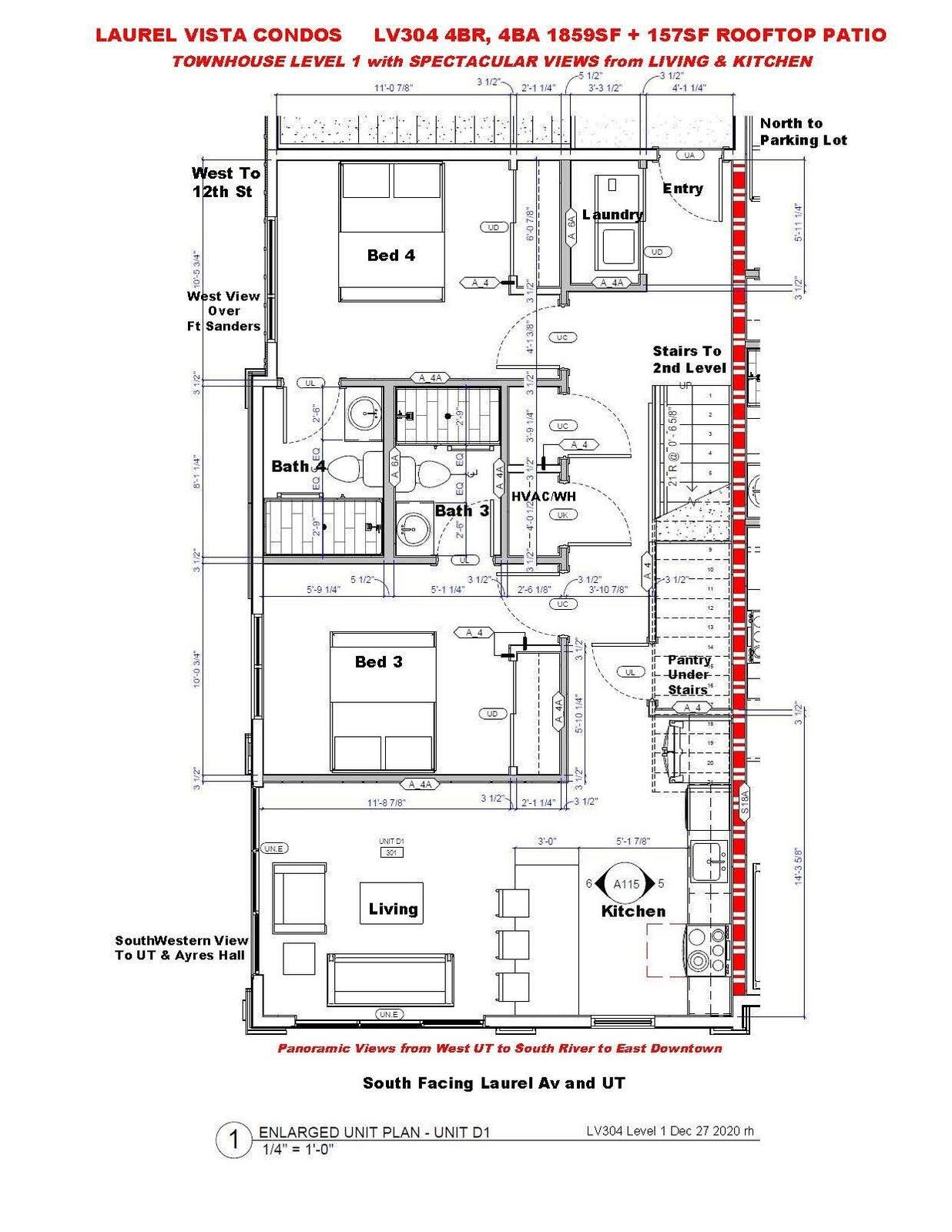 LV304 4BR,4BA Townhouse Level 1 - Floorp