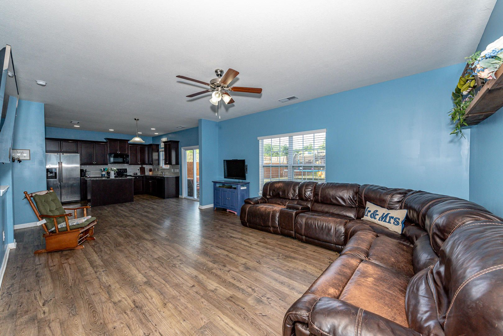 Family room open to kitchen