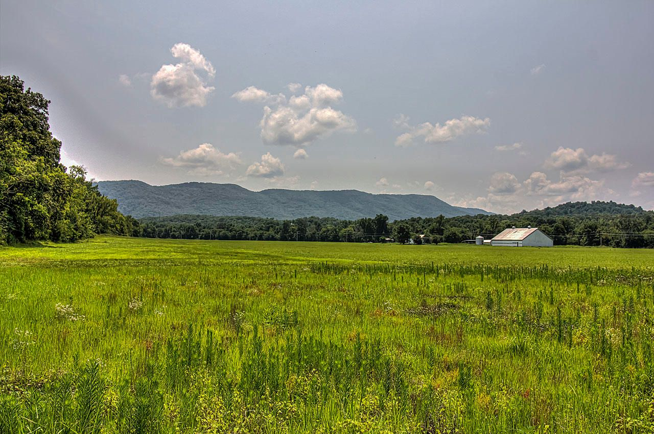 Pasture with Barn and Mountains