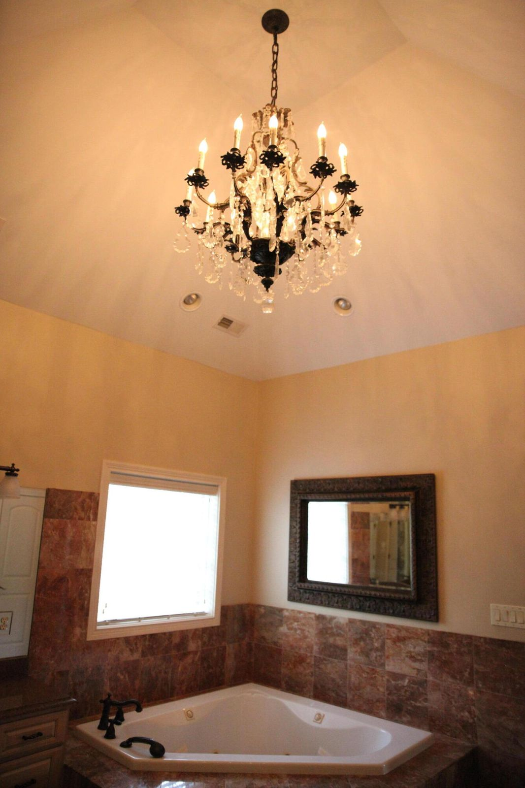 Master bathroom chandelier