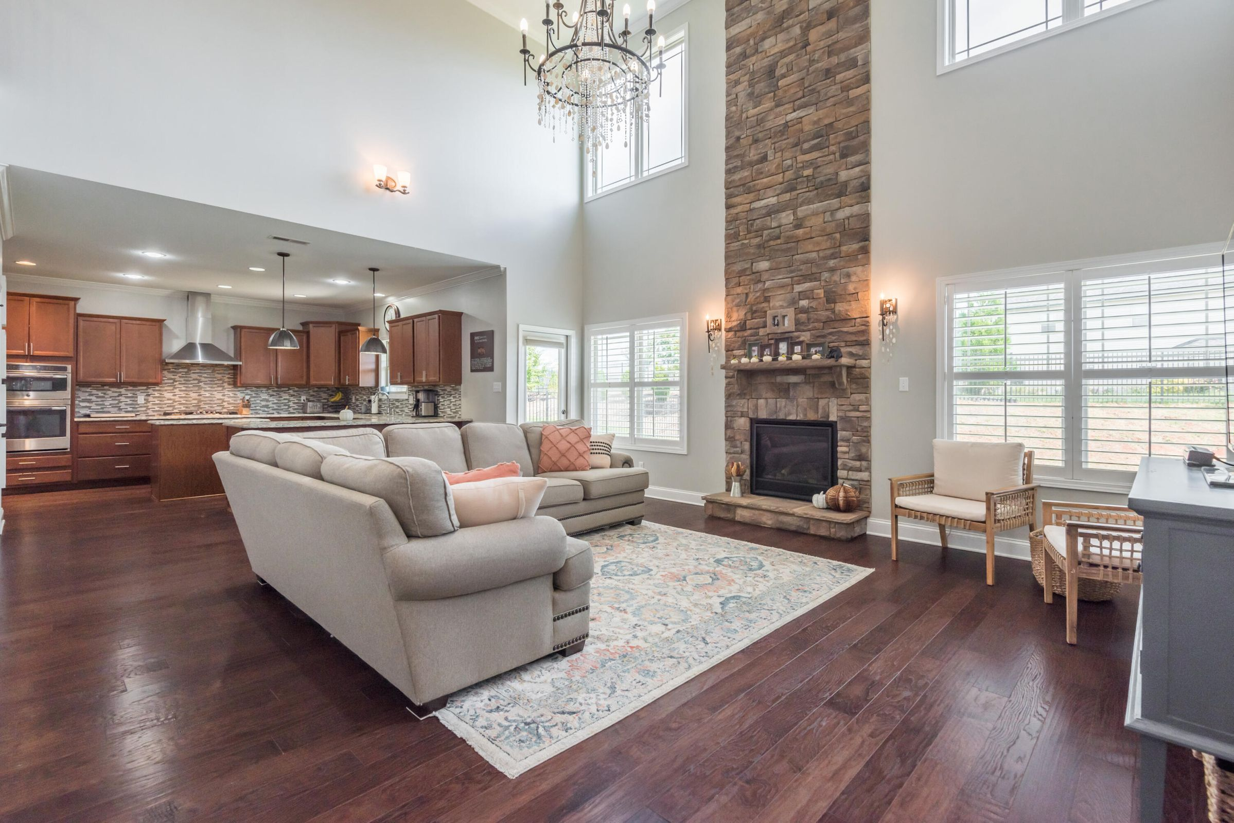 Beautiful Floors, Stone Fireplace