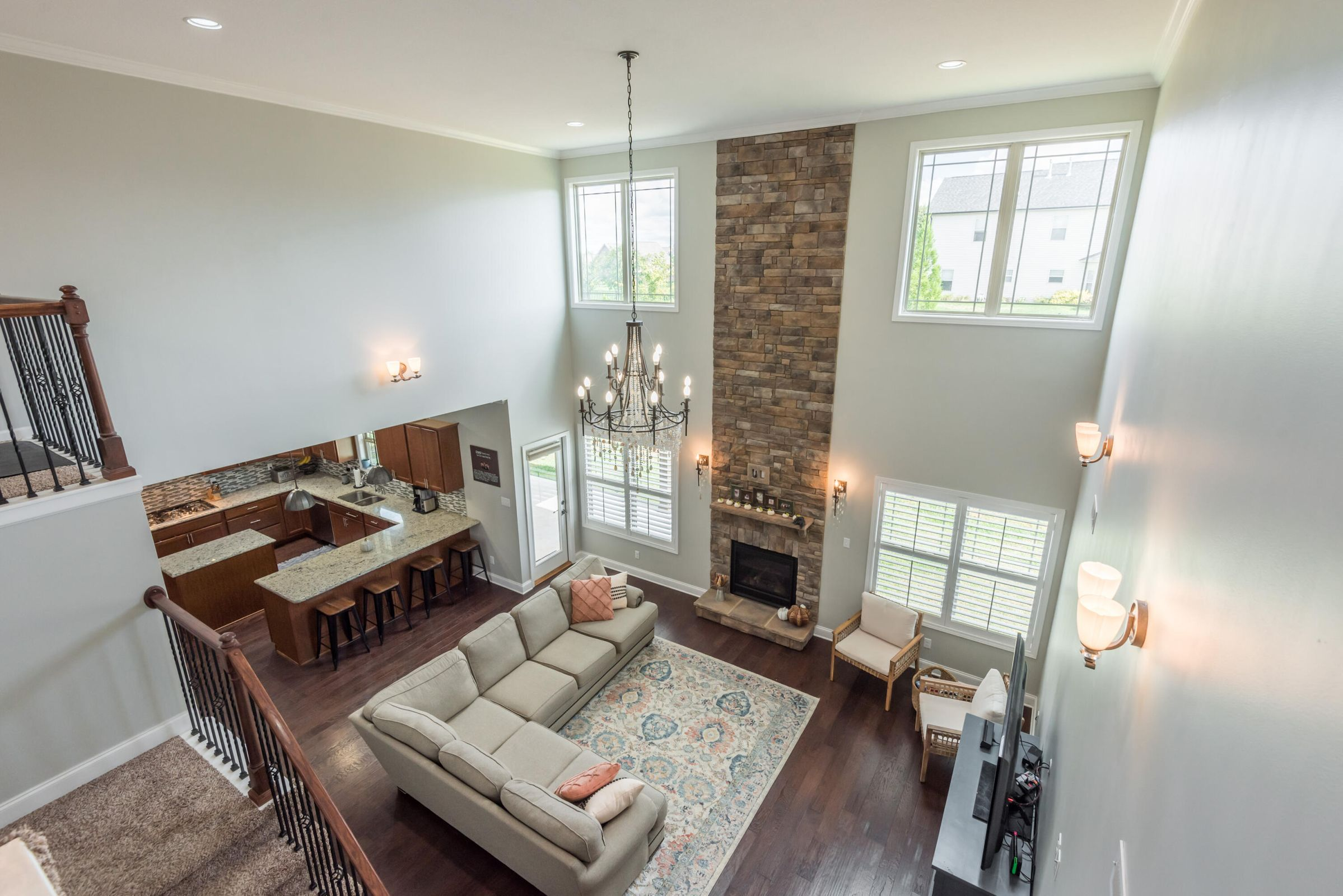 Overhead shot, great room & kitchen