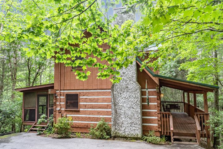 Talking about a gem, this cabin is set up perfectly for a Great Smoky Mountain vacation destination.  Just far enough away from the parkway and sitting on 1.29 acres.  Sleeps up to 8 people.  Two story cabin w/loft and gas log fireplace.  Updated kitchen and bathrooms.  Wonderful back porch with hot tub as well as a tranquil sitting area outside the cabin.  Country setting, but within minutes of Pigeon Forge, Gatlinburg, Sevierville and of course the Great Smoky Mountain National Park.  Perfect vacation investment cabin, on rental program with good numbers.