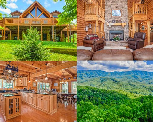 Luxurious and spacious, 3 BD/2.5 BA, nearly 4,200 square foot custom built Heritage log cabin.  Set in the scenic Cobby Nob subdivision with multiple pools, tennis courts, club houses and a golf course.  This cabin has always been a permanent residence but would also be ideal as a vacation home or overnight rental. Gorgeous views of the Smokies from the wraparound deck and balconies. Inside you will find a large living area with stone FP, round logs, exposed beams and vaulted ceilings. The kitchen boasts granite countertops, beautiful wood floors and an open dining area. Spacious Master Bedroom suite has its own walk-in closet. The cabin has a utility room, half bath along with the master bedroom and great room all on the main floor.