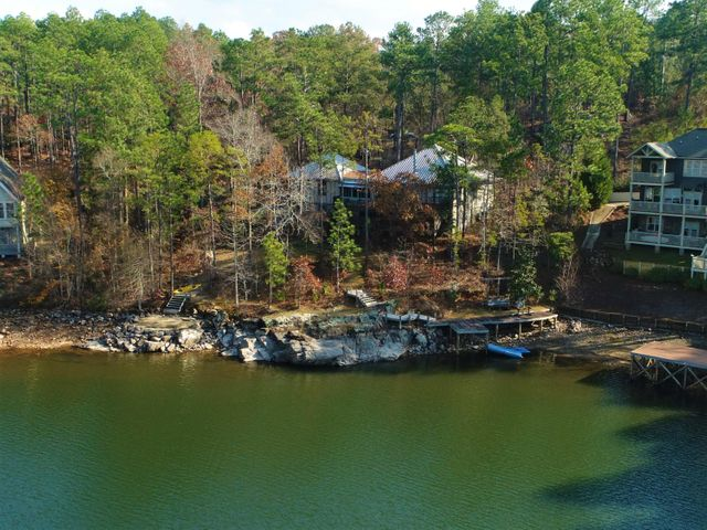 Lake side view from drone aerial photo