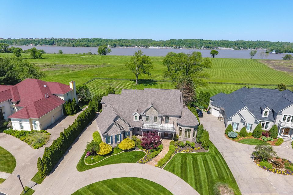 Live Riverfront! Extraordinary opportunity for unique riverfront property. This stunning custom-built home is situated on rare 4.4-acre hillside with sweeping Ohio river views and river frontage located at the end of a quiet cul-de-sac in the quiet enclave of Innisbrook Estates in Prospect. High and dry, none of the improvements are in the...