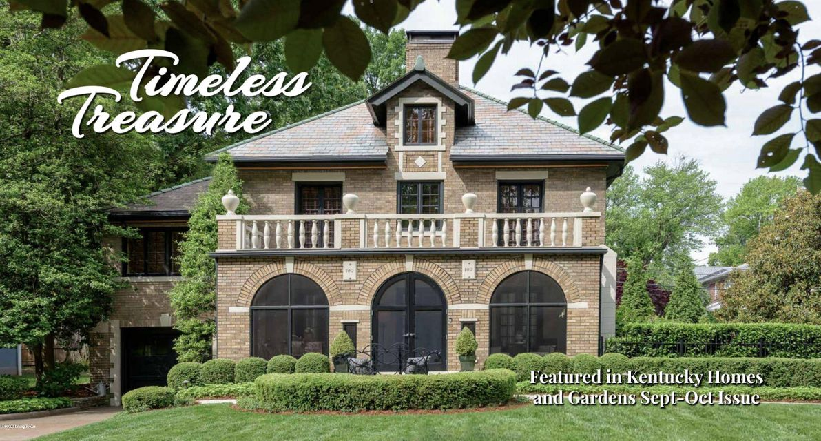 This Timeless Treasure was featured in Kentucky Homes & Gardens Magazine! This property received a thorough renovation inside and out. This 3-4 Bedroom, 2.5 Bath home features 9 sets of French Doors throughout. Spacious living room with incredible marble fireplace, formal dining room, gourmet kitchen w/huge walk-in pantry, plus a family room...