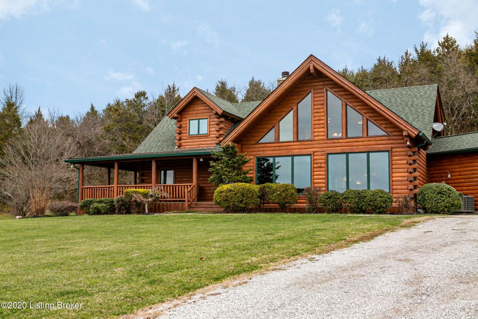 Fabulous log home with open floor plan on 45.69 acres in eastern Jefferson County with a portion of the property adjoining the Valhalla Golf Club and other portions running along side Floyds Fork!  A curved drive and walkway lead to a covered front porch offering a warm welcome to all with views of an approx. 1/3 acre stocked pond and much...
