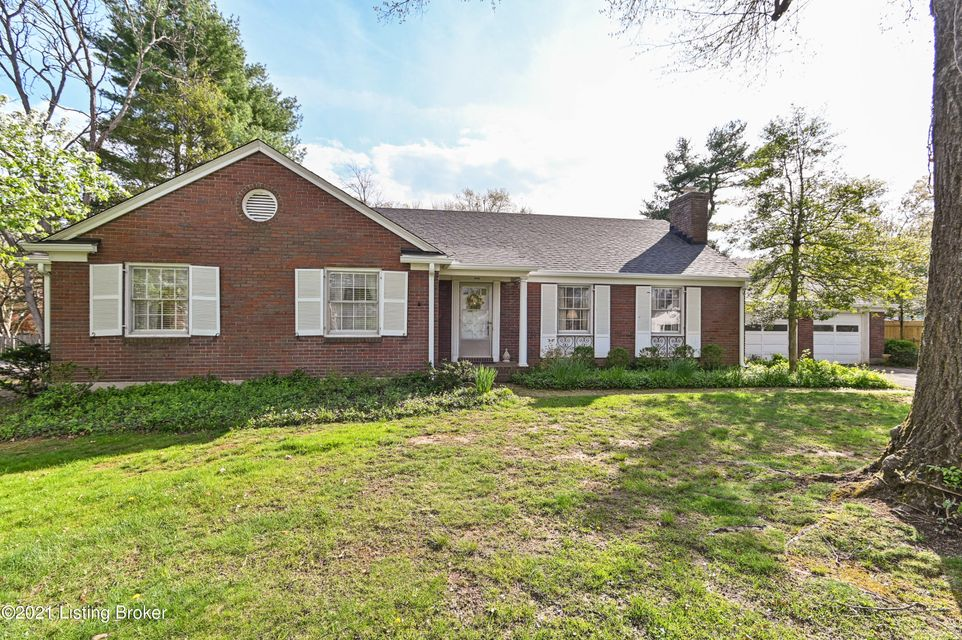 Beautifully cared for 1952 ranch home on nearly 1/2 acre lot inside the Watterson on Blankenbaker Lane.  3 bedrooms and two bathrooms with over 2,000 square feet of living space.  Great closet space with one walk-in closet.  Large unfinished basement with lots of potential.  Spacious fenced back yard.  Attached two car garage.  New roof and gutters in November 2020.  Hardwood flooring nearly throughout the home.  Call today, this will go fast!