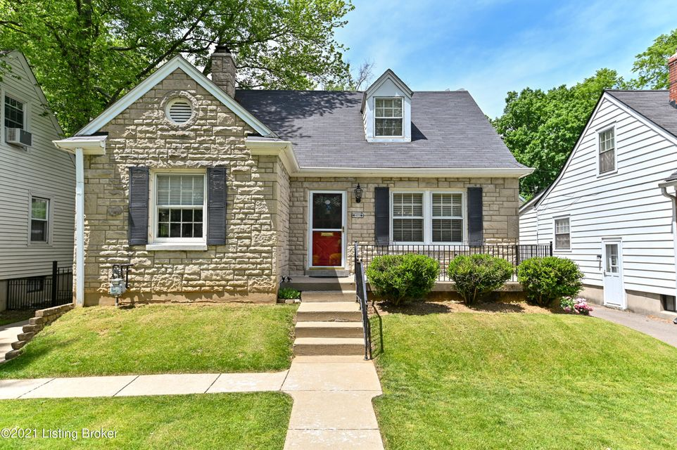 Charming home located in the heart of St. Matthews in a quiet, well established, tree lined neighborhood! This Cape Cod features beautiful Bedford Stone. and a gorgeous black wrought iron driveway gate. Beautiful hardwood flooring is in most of the first level with ceramic in the kitchen and baths. There is a lot of natural light all through the home. The first level has two nice sized bedrooms, a full bath, living room which opens to the dining room, kitchen, and sun room. You'll love the seclusion of the second level retreat-like primary bedroom and primary bath. The owners used all of the rooms in different capacities over the years as their family grew and changed from housing children to grandchildren sleepovers.