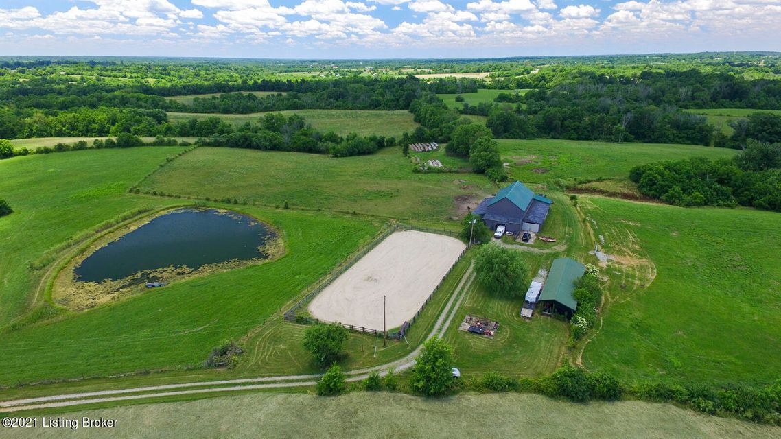 Remarkable opportunity to have your own retreat.  112 acres (107 acres in Oldham county and 5 acres in Shelby county.  Long winding driveway offers tremendous privacy.  There is a 10 stall barn (could be 12 as two stalls are doubled foaling stalls), another 6 stall shedrow barn and outdoor riding arena.  Ready to build your dream home overlooking the pond.  Very gently rolling land with the right mix of woods and open pastures.DO NOT ENTER PROPERTY OR GO DOWN DRIVEWAY WITHOUT PRIOR APPOINTMENT.10C is the lot number as the property doesn't have an address (house) yet.  Driveway in between mailboxes marked 10175 and 10177.