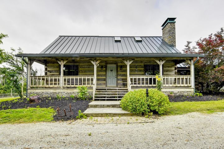 Large covered front porch with fantastic country views