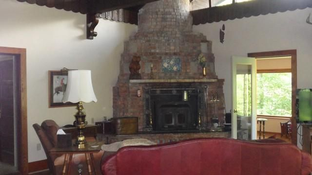 massive brick fireplace