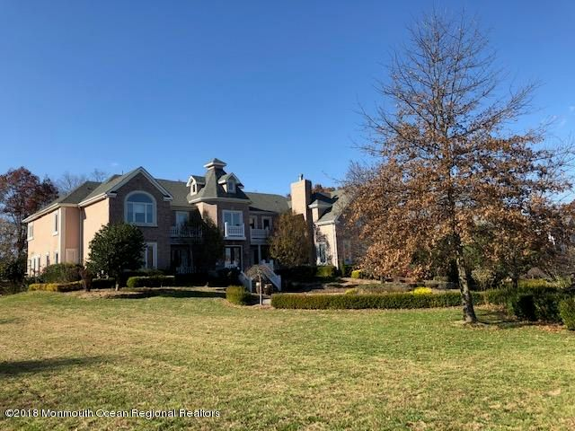View from Private Cul-de-Sac of 3 FULLING MILL LN, COLTS NECK sits Majestically on 1.73 Acres.