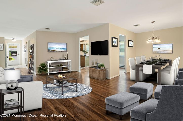 Virtually Staged Living Room and Dining Room