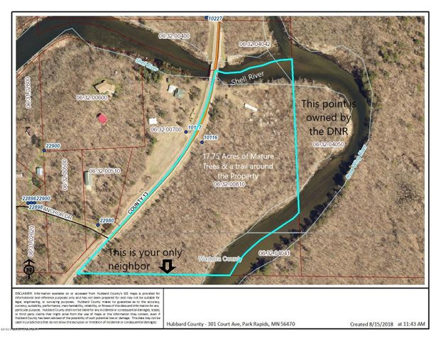 Aerial Photo from Hubbard County Website w/notes