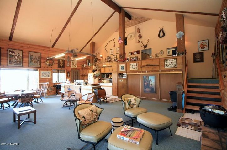 True cabin feeling with high vaulted ceilings. Redwood walls