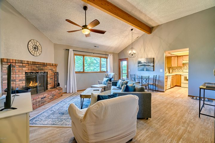 Great Room vaulted & luxury vinyl plank flooring