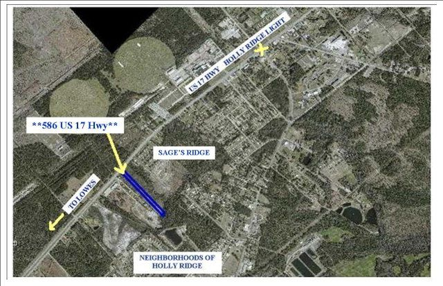 This is an excellent opportunity to invest in the rapidly growing area around Holly Ridge. For sale are 2.51 acres with 75' road frontage on Hwy 17. It is right inside the city limits so public sewer and water are available. The land was completely cleared and surveyed a few years ago . It is zoned commercial giving you many options to develop.  Don't miss the chance to grow with the town while it's still affordable!