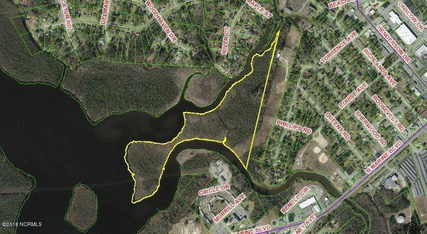30+ acres of undeveloped land for sale in Jacksonville. Abundance of frontage on the New River. This waterfront property would be nice area for recreational use. Call for more information.