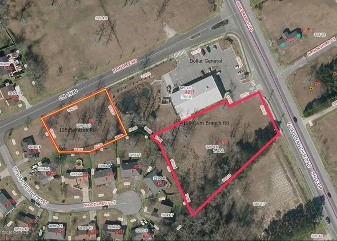 1.42 acre parcel on Gum Branch Rd next to Dollar General. May be combined with 125 Raintree Rd parcel for a total of 2.03 of vacant land for $260,000. Water and sewer service available to site. 31,000 cpd (45 mph) on Gum Branch Road.