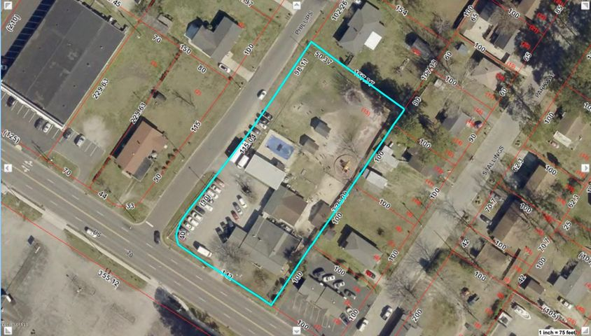 Large 5,944 SF commercial building with 1.2 acres on the highly trafficked Neuse Blvd of New Bern, NC. This corner lot property offers access from both Neuse Blvd & Phillips Ave. 3 separate buildings on prop. & chlorine pool in back of prop. 1st building (built in 1960) has 3,066 SF & has 6 massive private rms, 2 bathrms, full kitchen & 2 heat pumps. 2nd building (built 1989) has 1628 SF & has 3 private rms & heat pumps. 3rd building (built 1991) has 1250 SF w/1 massive open room, bathrm & heat pump. Within minutes from Carolina East Hospital & Hwy 70 E. 17 parking spaces & covered drive up area. All utilities are with City of New Bern. Back half of property is completely untouched & is fenced-in. Ideal for medial or business office or for a building site for new construction site.