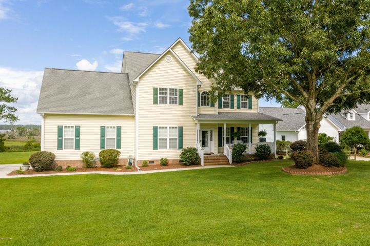 Welcome to Southern Living at it's finest! Situated on over 3 acres overlooking the White Oak River, this home offers the best of all worlds. Featuring 3 bedrooms, formal dining and living rooms, open kitchen and family room plus an office. This functional layout provides the open space perfect for entertaining with the added benefit of the additional rooms for the privacy of working, reading or relaxing. Additional interior features include hardwood and tile flooring, multiple walk-in closets, stainless appliances, new gas range, granite counters, gas fireplace, tray ceilings, jetted tub and upstairs laundry room. Outside enjoy the scenic water views from the screened porch or large back deck, which are perfect for outdoor entertaining or simply delighting in your own peaceful oasis for coffee or cocktails. Located just minutes from shopping, parks and historic downtown Swansboro, but without city taxes. For a sneak peek, take the 3D walkthrough under virtual tour then call when you're ready for a private in person tour.
