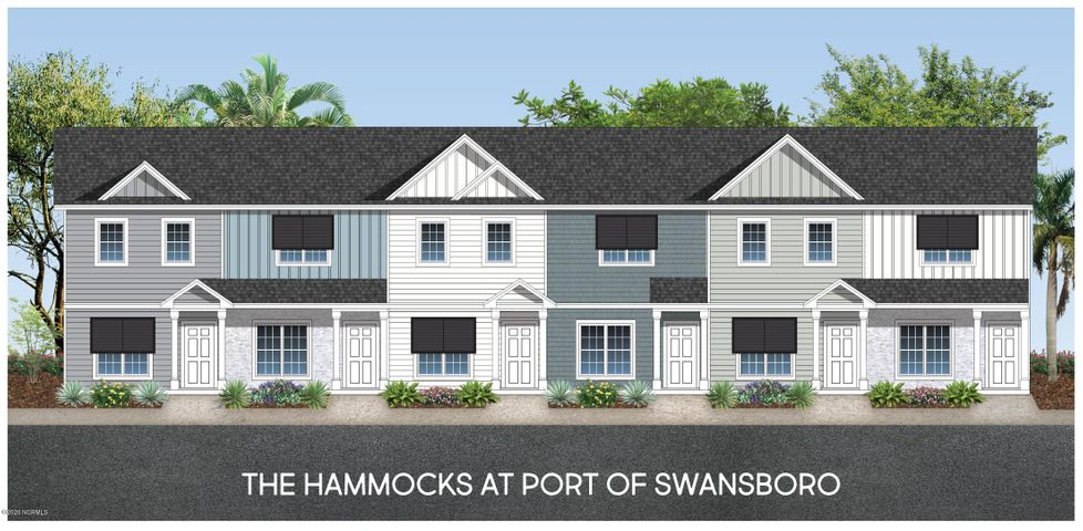 Welcome to The Hammocks at Port Swansboro, Swansboro's premier townhome community just minutes from historic downtown Swansboro, Camp Lejeune, Crystal Coast beaches, dining, entertainment & more! The amazing interior features throughout are the most sought after and include granite countertops, painted cabinets, LVP flooring, oil rubbed bronze hardware and lighting, stainless appliances, and so much more! Upon entering, you'll love the spaciousness of the open concept living room and the beautiful LVP flooring. You will be amazed at the size of the kitchen and how much cabinet and counter space it offers! Just off the breakfast/dining area you'll find a covered patio giving you perfect place for enjoying a relaxing summer evening after visiting the beach! Upstairs you'll find two spacious bedrooms with ensuite bathrooms and large closets. For your convenience, the large laundry closet is located upstairs and there is a large storage closet off the patio offering additional storage space. There's even a community pool for days of fun! These stunning, well-priced townhomes in the very best of locations won't last long! Call us today to see them!