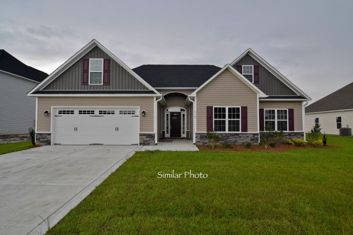Welcome to Jacksonville's hottest new community, Stateside. Located off of Gum Branch Road behind Stateside Elementary School. All new construction by Onslow County's most trusted and preferred Builder featured in Builder 100/ Top 200 Home Builders in the country. Stateside is 16 miles to Camp Lejeune, 12 miles to New River Air Station and minutes to area schools and shopping. A beautiful new community for active and growing families. Upcoming community amenities will include clubhouse area and community pool.Introducing the Vienna with bonus floor plan. This brand new home offers 3 bedrooms, 2 bathrooms, and a bonus room at approximately 2080 heated square feet. The exterior is quite charming with easy-to-maintain vinyl siding, accented by brick or stone. All surrounded by a sodded front yard with a clean, classic landscape. The foyer welcomes you in, opening to the family room. At approximately 21'x18', the family room is big enough to gather everyone for movie night! Cool off under the breeze of the ceiling fan or snuggle up next to the cozy electric fireplace, surrounded by marble and topped with a custom mantle. The chef in the family is sure to fall in love with the kitchen! Flat panel, staggered cabinets topped with modern granite counters, a pantry for extra storage, and a bar for additional seating.Stainless appliances include a smooth-top range, microwave hood, and dishwasher. The spacious dining area is open to the kitchen and family room, ideal for family meals and entertaining. The master suite will certainly impress with a ceiling fan and a huge walk-in-closet! Unwind after a long day in the luxurious master bathroom. Complete with a double vanity topped with cultured marble counters, full view custom mirror, ceramic tile flooring, separate shower and soaking tub. Bedrooms 2 & 3 are perfectly sized and pre-wired for ceiling fans. The upstairs Bonus Room is a sublime space for a home office, home theater, or a play room for the kids.......There's even a