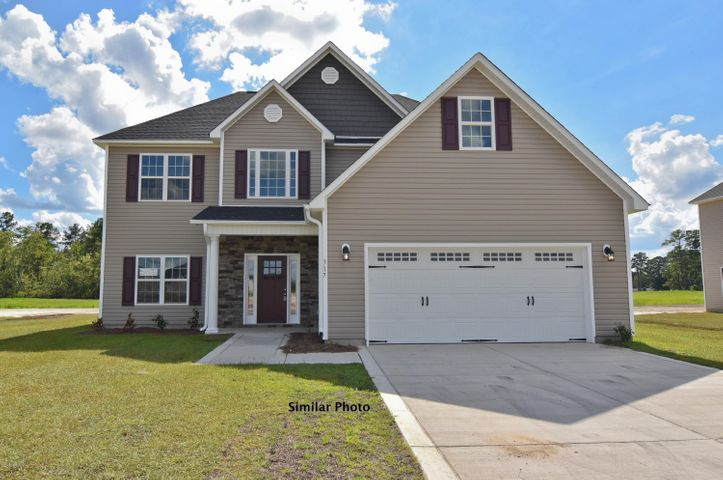 Welcome to the prestigious new home community, The Preserve at Tidewater. A coastal community. Brand new homes by Onslow County's most trusted and preferred builder, featured in Builder 100/ Top 200 Building firms in the country. This prominent neighborhood boasts a picturesque entrance, matured trees, spacious lots and a feeling of nature and serenity. Complete with an impressive clubhouse area and community pool. Introducing the Palomar 2746 floor plan which features 4 bedrooms and 2.5 bathrooms at approximately 2,746 heated square feet. Situated on a gorgeous lot, the curb appeal is exquisite! Easy -to -maintain vinyl siding, accented by stone or brick. All surrounded by a sodded front yard with a clean, classic landscape. The grand foyer welcomes you in, opening to the formal dining room - perfect for hosting those special occasions! The chef in the family is sure to fall in love with the kitchen! Open and spacious with an ample amount of cabinet and counter space, a bar for extra seating, stainless smooth-top range, microwave hood, and dishwasher. Enjoy your morning coffee in the breakfast nook. Also off the kitchen you will find a cozy keeping room with a lovely fireplace, surrounded by marble and topped with a custom mantle. Gather everyone together for movie or game night in the family room. An expansive 18'x16', the family room boasts plenty of natural lighting, a ceiling fan, and a second  fireplace surrounded by marble topped with a custom mantle. The impressive master suite is approximately 17'x14' with a trey ceiling and ceiling fan. ''Get away from it all'' in the luxurious master bathroom. Complete with a double vanity topped with cultured marble counters, full view custom mirror, ceramic tile flooring, separate shower and soaking tub.......all leading to a HUGE walk-in-closet - you must see to believe!! Bedrooms 2, 3, and 4 are perfectly sized and prewired for ceiling fans all with Walk-in-Closets! Chores are made easier with the separate laundry roo