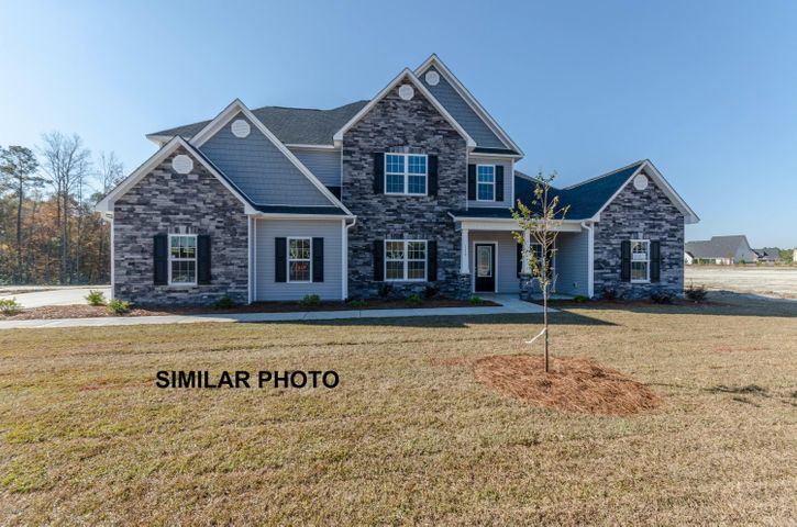 Welcome to the prestigious new home community, The Preserve at Tidewater. A coastal community. Brand new homes by Onslow County's most trusted and preferred builder, featured in Builder 100/ Top 200 Building firms in the country. This prominent neighborhood boasts a picturesque entrance, matured trees, spacious lots and a feeling of nature and serenity. Complete with an impressive clubhouse area and community pool. Introducing the Avalon floor plan which screams ''functional'', with 5 bedrooms, 2 of them being master suite's, a study, and 3.5 bathrooms. The exterior of this home is easy-to-maintain with vinyl siding, accented by stone or brick, and a sodded front yard with classic landscaping. Welcome your guests into your 2-story foyer. Create many magnificent memories in the formal dining room. Enjoy family time in the expansive family room, approximately 16' x 18'. The chef in the family is sure to fall in love with the kitchen, with plenty of cabinet and counter space, granite counter tops, stainless steel smooth-top range, dishwasher, and microwave hood. This dream kitchen is open to the breakfast nook and keeping room. Creating that warm cozy feel while cooking meals. The first floor offers the first of two master bedrooms. This master bedroom is sure to please with a trey ceiling, large master bathroom with a double vanity topped with cultured marble counters, tile flooring, separate shower and soaking tub, and water closet, all leading to the HUGE master walk-in-closet. Head upstairs to the second floor master bedroom also complete with trey ceiling, bathroom, and walk-in-closet. You will also find the other 3 remaining bedrooms with walk-in closets, an office/study and hall bathroom. This home is complete with a covered back porch perfect for those Carolina BBQ's and 2 car garage. All backed by a one-year builder warranty from a top, local builder. Call today! NOTE: Floor plan renderings are similar and solely representational.  Measurements, elevations, and design features among other things, may vary in the final construction. Call to verify. Welcome Home.