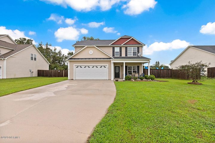 Home sweet home in Trifield Estates! Step inside this beautiful 2 story 4 bathroom, 2.5 bathroom home with beautiful LVP flowing through the spacious rooms. Kitchen offers plenty of cabinet space & breakfast bar kitchen island. Stroll upstairs to find 4 cozy bedrooms, 2 full bathrooms and laundry room nook. Master bedroom offers a private bathroom and a large walk in closet!  Bring your grill and check out the private fenced backyard with a concrete patio! Just a short drive to Jacksonville and Marine Corps Base Camp Lejeune! Come check out this beautiful home today!