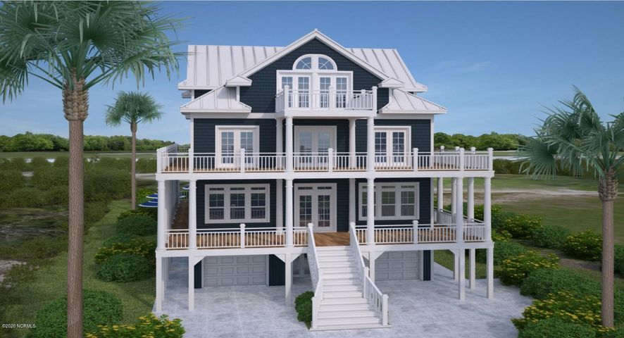Amazing Second Row Property! Custom located in the gated Oceanfront Community of Ocean Sound Village. This second row lot offers sweeping views of Topsail Island Award winning Beaches and boasts incredible sunset views of the sound. Deeded beach access is located just a few steps away. At 0.84 acres the property is the perfect place to build your dream beach house with plenty room for a pool. This 6 Bedroom 7 Bath home can be modified to a 7 Bedroom plan. Our allowance package allows you the greatest range of selections available. Our true custom home build team has the greatest flexibility to meet your requests. Exterior features include Standing seam Aluminum roof. synthetic underlayment, Fiber cement composite siding, high impact windows, copper flashing, #1 kiln Dried deck boards, and vinyl handrails. Interior features include CoreTec floors, tiled floors, 7in base boards, 1x4 pine wood door and window casings, Granite counter tops custom cabinets, Stainless steel appliances and all Delta plumbing fixtures. We have many plans to choose from, or meet with our team to design a unique plan styled to your specifications. Call Today